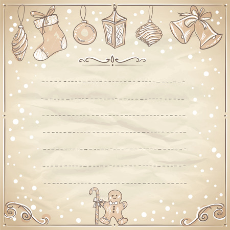 Christmas frame with paper and place for text. Eps10 Illustration
