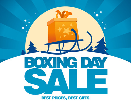 clearance sale: Boxing day sale design with gift box on a sled.