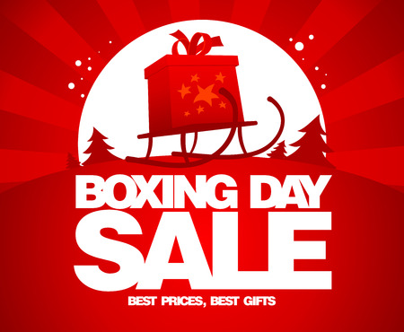 sale sign: Gift box on a sled, Boxing day sale design.