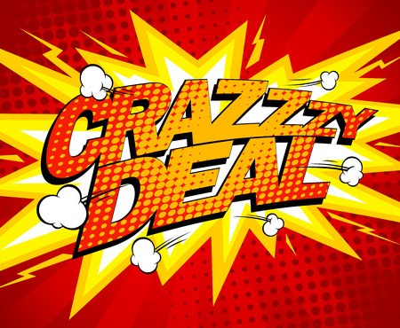 business deal: Crazy deal design, comics style. Illustration