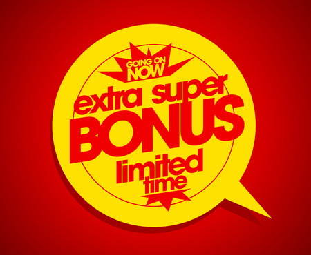 super market: Extra super bonus limited time speech bubble.