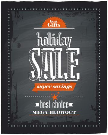 Holiday sale chalkboard design. Eps10