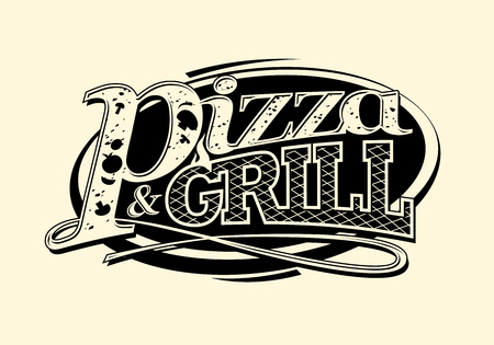 Pizza and grill symbol or stamp.