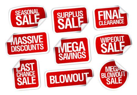 Mega besparingen, verkoop stickers set. Stock Illustratie