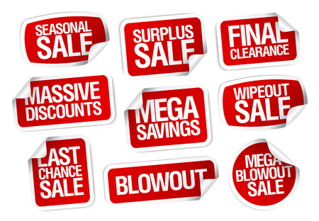 fashion label: Mega savings, sale stickers set.