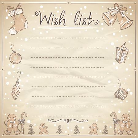Kerst wenslijst illustratie. Eps10