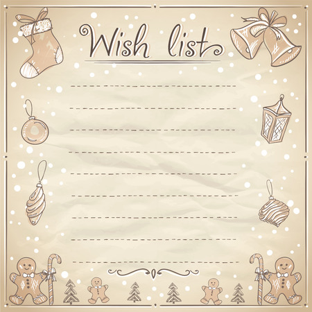 Christmas wish list illustration. Eps10 Illustration