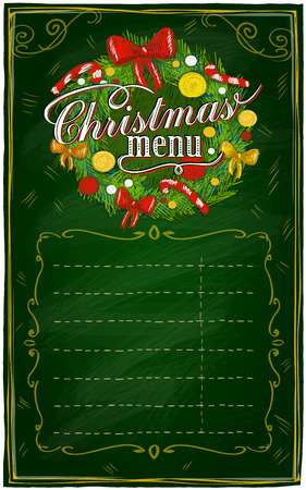 Christmas menu chalkboard with place for text. Eps10 Vector