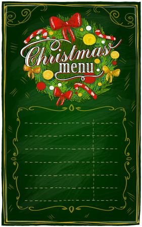 Weihnachtsmenü Tafel mit Platz für Text. Eps10 Vektorgrafik
