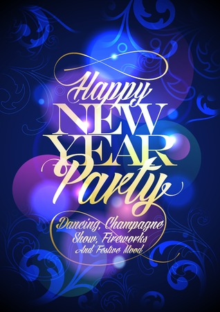 Happy New Year party floral design. Eps10 Vector