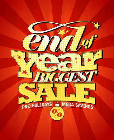 Einde van het jaar de grootste verkoop design. Eps10 Vector Illustratie