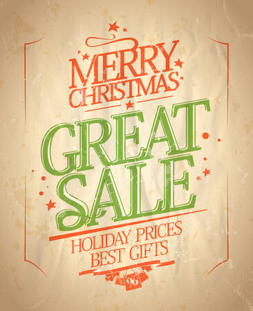 last year: Christmas great sale design in retro style. Eps10.