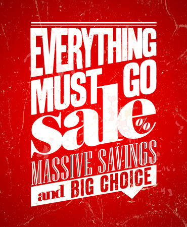 must: Everything must go sale, massive savings retro poster. Eps10.