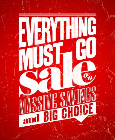 Tutto deve andare in vendita, massimo risparmio poster retrò. Eps10.