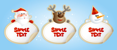 Cristmas frames stickers with deer, Santa and snowman. Vector