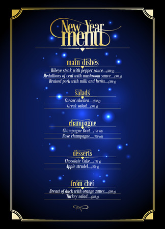 new designs: New Year menu list, dark blue with gold design with place for text. Eps10