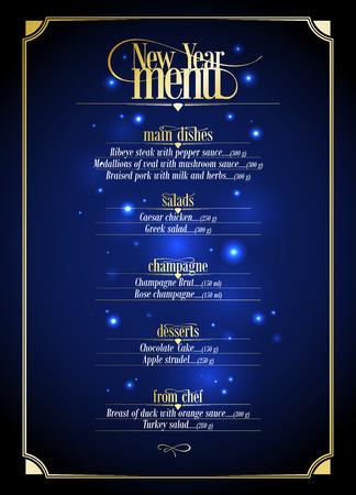 Nowa lista menu Rok, granatowy z projektu złota z miejsca na tekst. Eps10 Ilustracje wektorowe