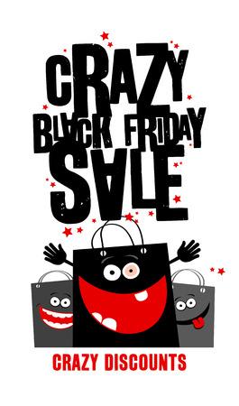 Gekke zwarte vrijdag verkoop ontwerp met boodschappentassen.