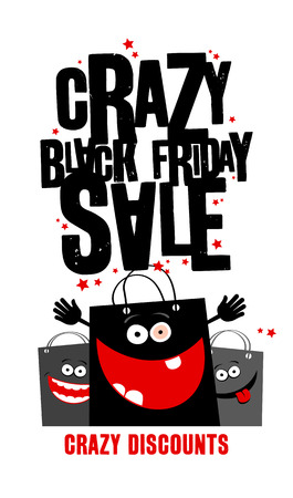 Crazy black friday sale design with shopping bags. Illustration