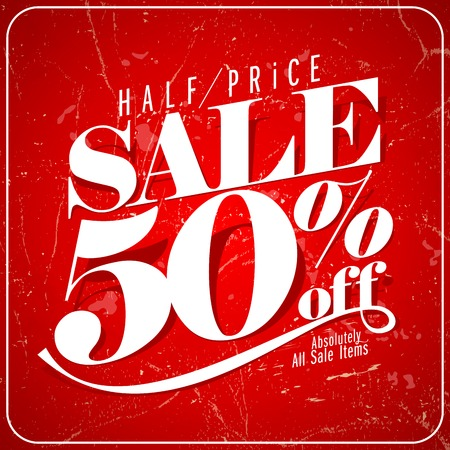 old style lettering: Half price sale poster. Eps10