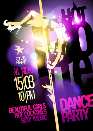 Pole dance party design with slim fashion girl. Eps10