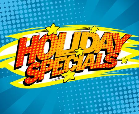 specials: Holiday specials, pop-art sale design.