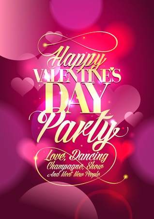 night club: Valentine day party design with pink bokeh hearts backdrop.