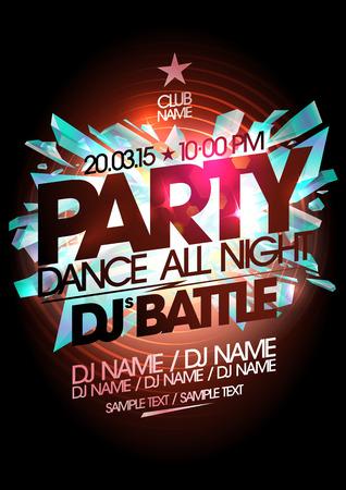 fiesta dj: Partido de danza, diseño batalla dj con lugar para el texto. Vectores