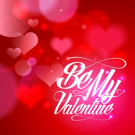 Be my Valentine calligraphy card design with hearts backdrop.