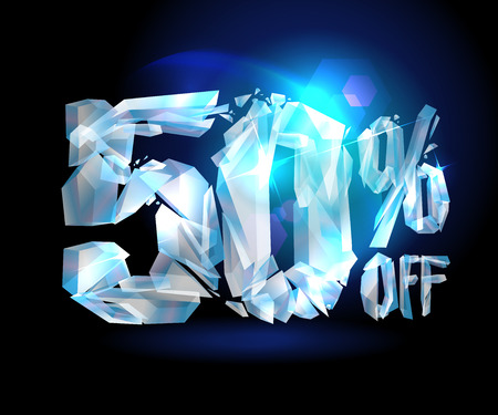 blast off: 50 % off sale coupon ice design. Illustration
