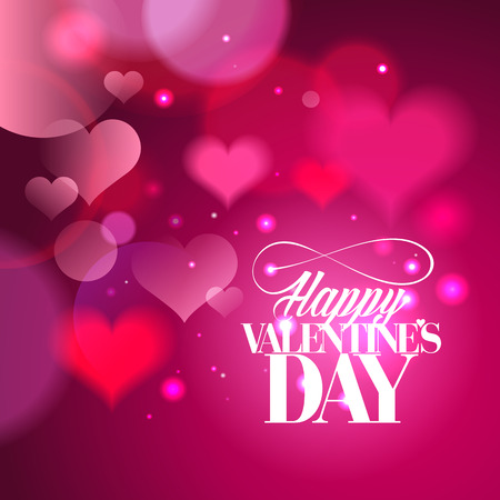 Happy Valentines day calligraphy design with hearts backdrop. Vectores