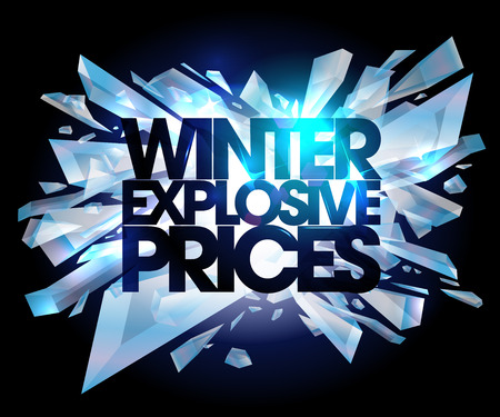 cool background: Winter explosive prices, sale design.
