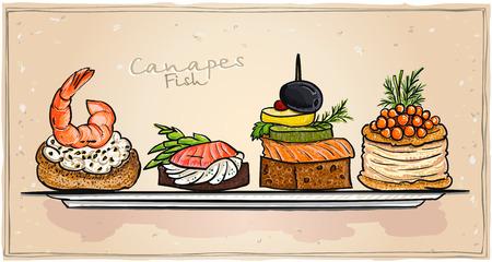 해산물 카나페 접시에 연어, 빨간 캐 비어와 새우 그림을 설정합니다. 모든 개체는 별도 및 편집 할 수 있습니다.
