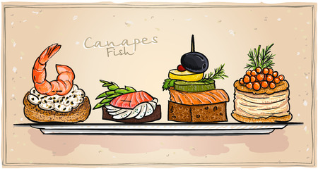 Seafood canapes set illustration with salmon, red caviar and shrimp on a plate. All objects is separate and editable.