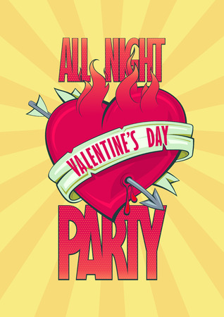All night Valentine party design with burning heart with arrow and ribbon, tattoo style. Vector