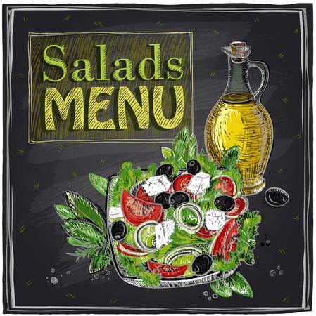 lavagna: Menu Salads disegno lavagna con insalata greca. Vettoriali