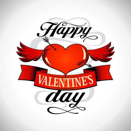 Happy Valentine`s day design with winged heart. Vector