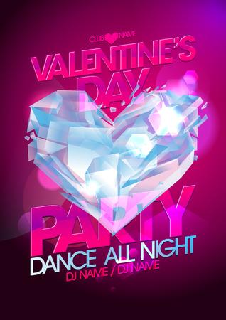 coeur diamant: Valentines partie de jour de la conception rose avec coeur en diamant. Illustration