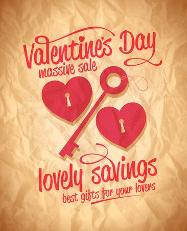 Valentine`s day lovely savings typographic design with key and hearts.  Vector