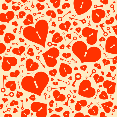 Valentine seamless background with hearts. Vector