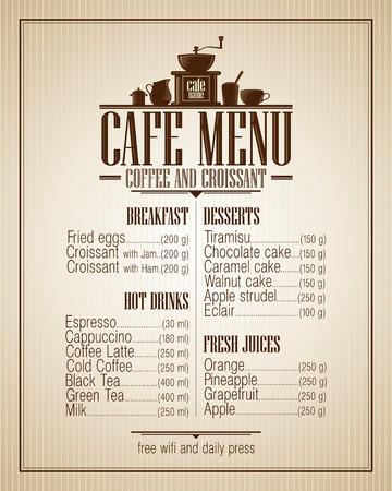 Cafe lista de menú con platos nombre, diseño de estilo retro.