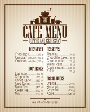 newspaper headline: Cafe menu list with dishes name, retro style design.