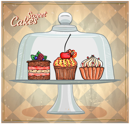 dessert stand: Set of cute cakes under glass dome, retro style