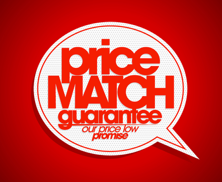 price: Price match guarantee speech bubble. Illustration