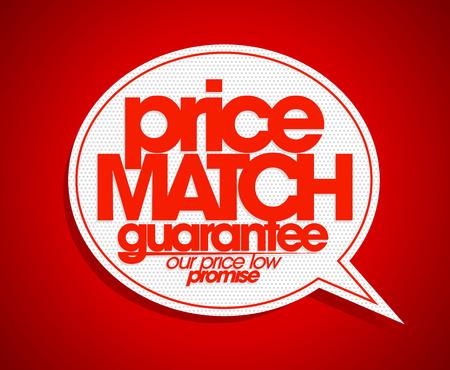 low price: Price match guarantee speech bubble. Illustration
