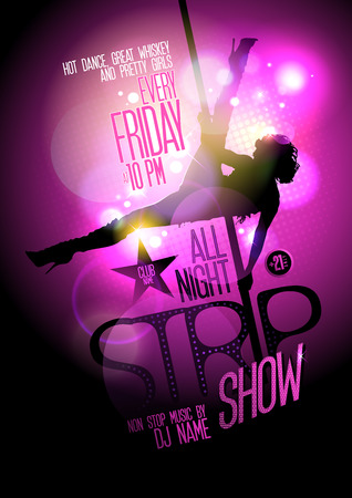 Strip show party design with a stripper woman on a pole. Vector