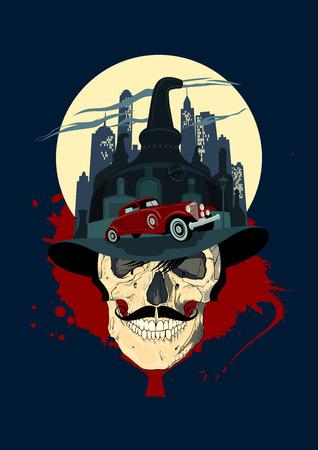 Hommes crâne contre ville de nuit, la conception bootlegger de la mafia. Banque d'images - 36308167