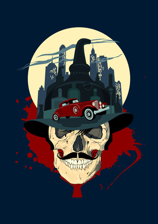 coil car: Men skull against night city, bootlegger mafia design.