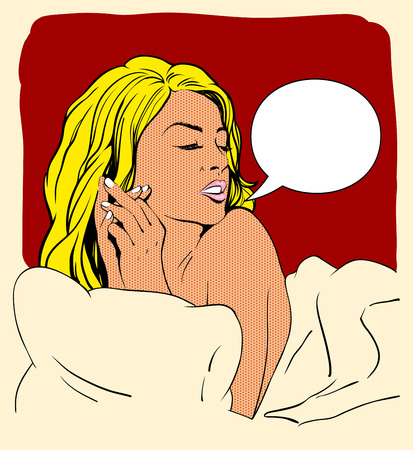 naked: Pop art portrait of a laying in bed naked woman with speech bubble. Illustration