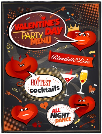 Chalkboard Valentine day party menu design. Vector